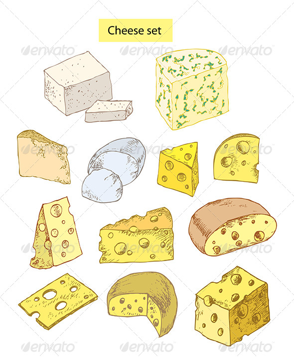 GraphicRiver Cheese Set Detailed Illustration 5468108