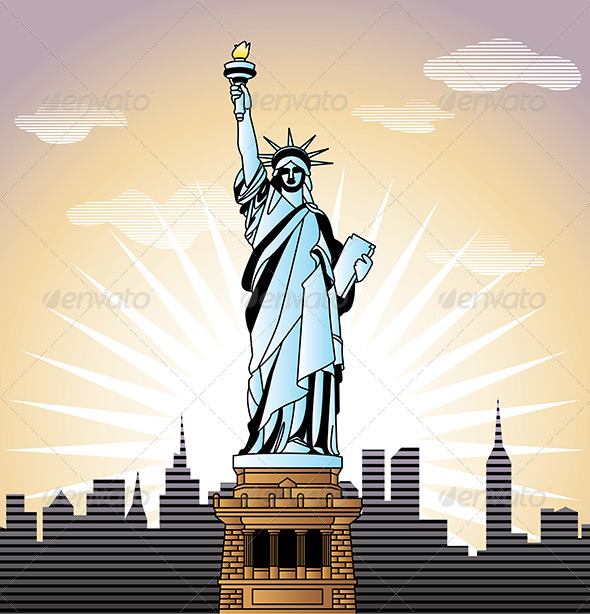 GraphicRiver Landscape with Statue of Liberty in New York 5468381