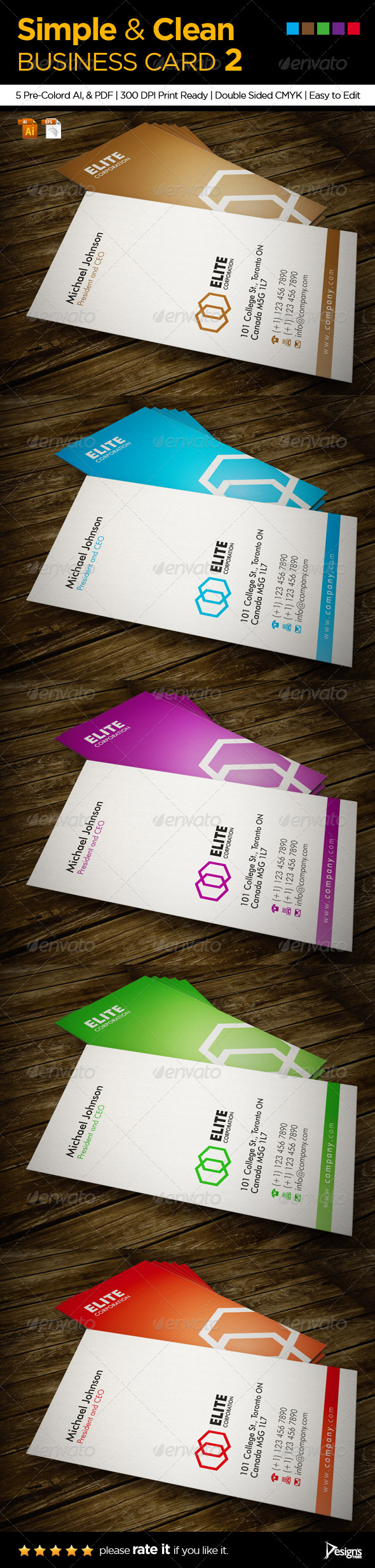 Simple and Clean Business Card 2 - Corporate Business Cards