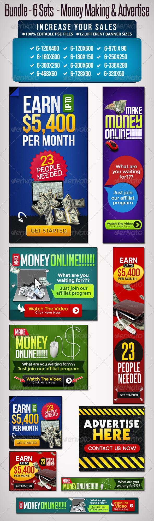 GraphicRiver Bundle 6 Sets Make Money Online & Advertise 5456507