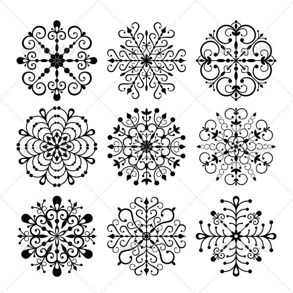 GraphicRiver Decorative Vector Snowflakes Set 5472106