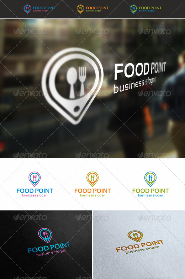 GraphicRiver Food Point Locator Logo 5389196