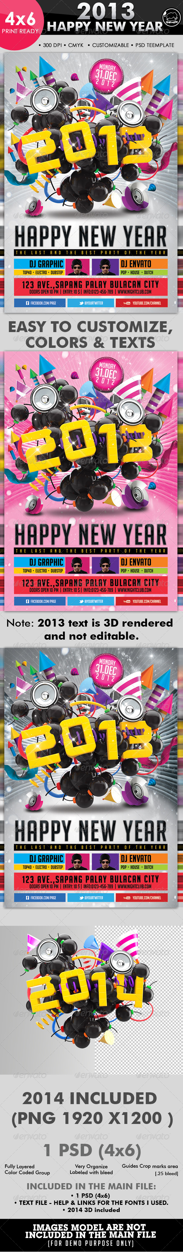 2013 Happy New Year Flyer Template - Clubs & Parties Events