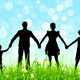 Green Grass and Blue Sky with Family Silhouettes - GraphicRiver Item for Sale