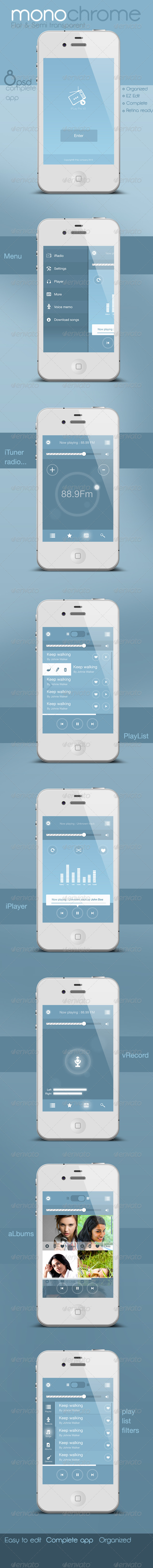 Flat and Semi Transparent Audio App - User Interfaces Web Elements
