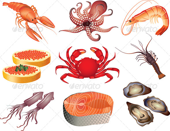 GraphicRiver Popular Seafood Vector Set 5460126