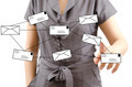 Business lady pushing Mail Social. - PhotoDune Item for Sale