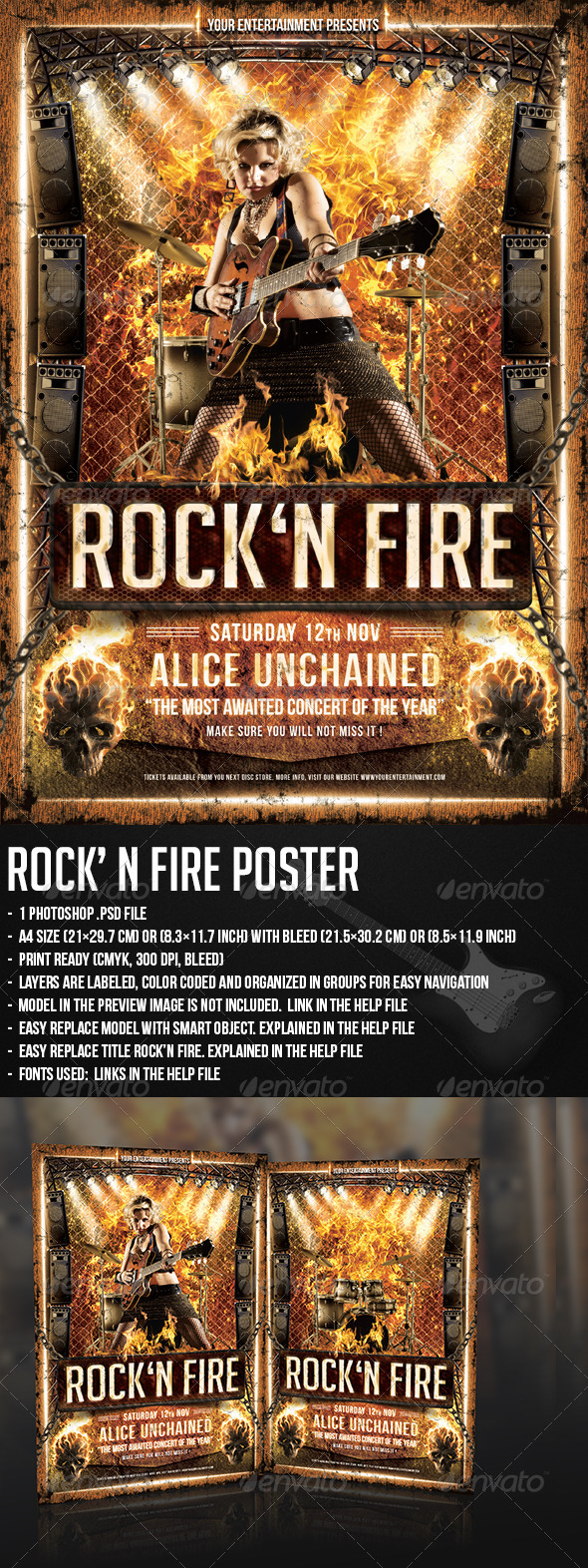 GraphicRiver Rock N Fire Live Poster 5445993