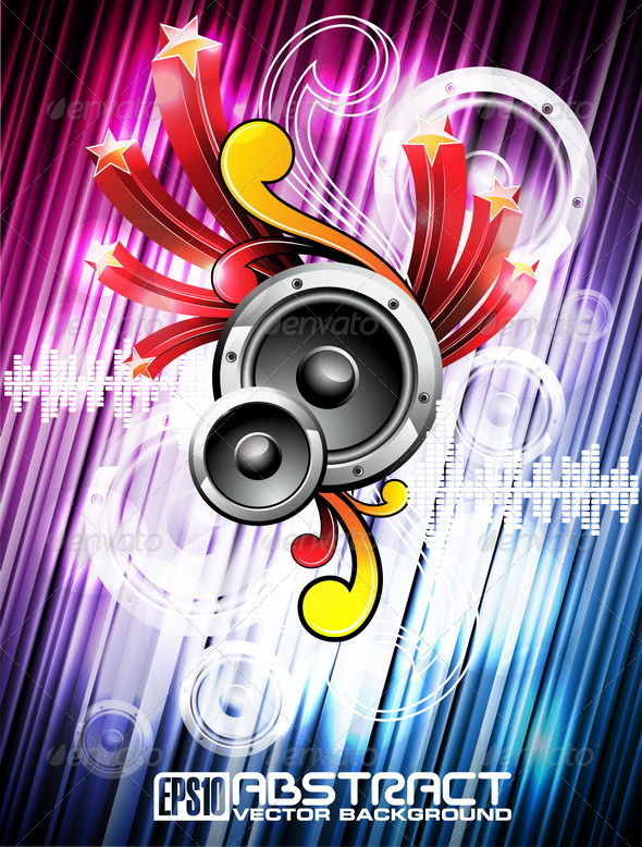 Abstract vector shiny music background design - Media Technology