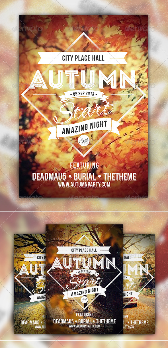 GraphicRiver Autumn Start Events Party Flyer 5477397