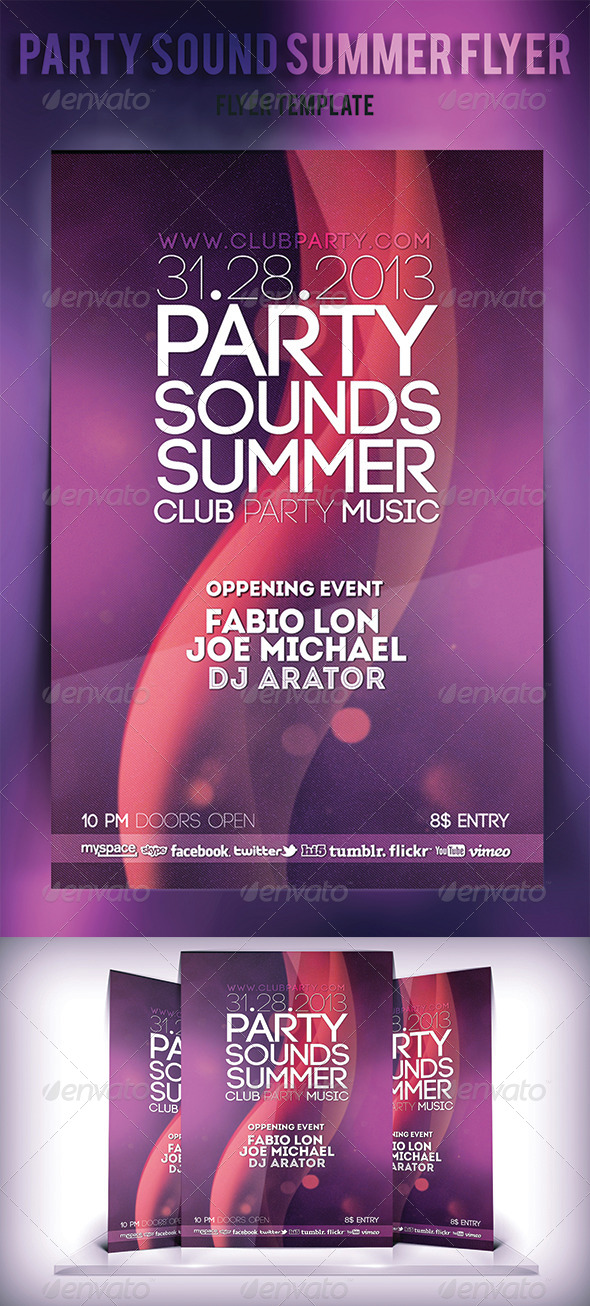 GraphicRiver Party Sound Summer Flyer 5410733
