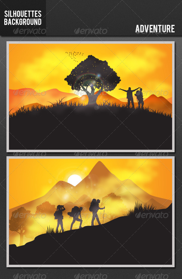 GraphicRiver Silhouette Background Adventure 5478252