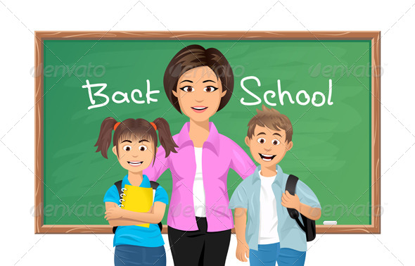 GraphicRiver Back to School Teacher with Schoolchildren 5481190