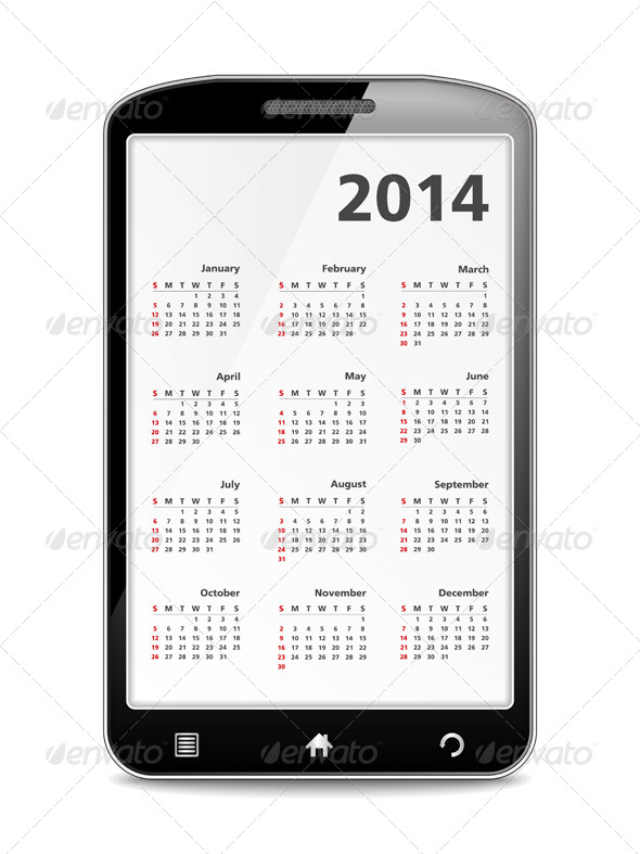 GraphicRiver 2014 Calendar in Smartphone 5481681