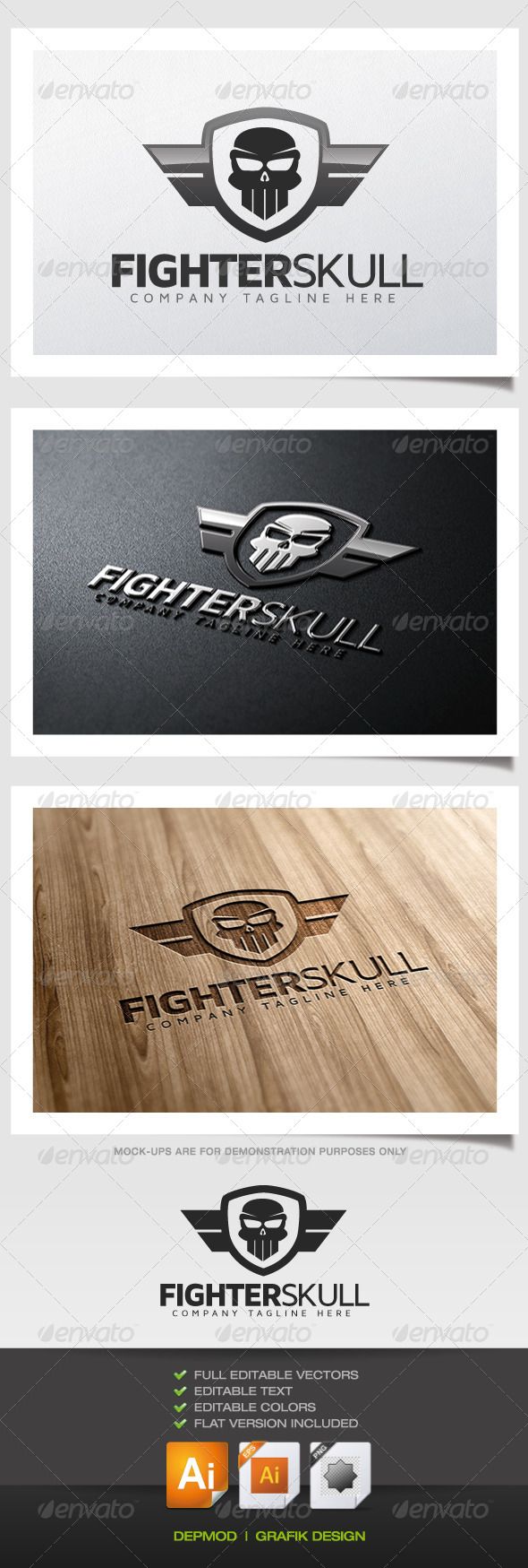 GraphicRiver Fighter Skull Logo 5483450
