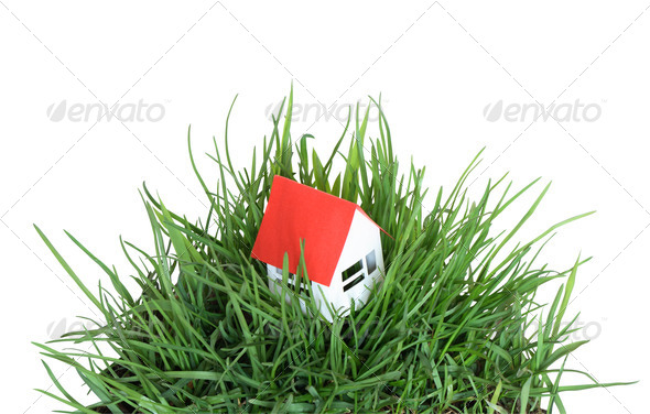 House On Grass - Stock Photo - Images