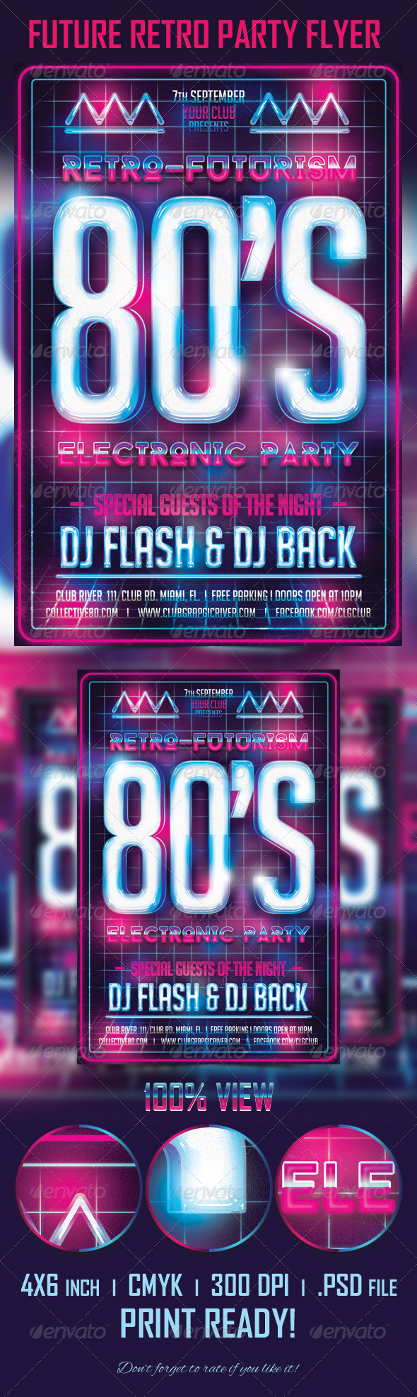 GraphicRiver Future Retro Party Flyer Template 5484327