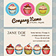 Vintage Cupcake Business, Thank you, Gift Card - GraphicRiver Item for Sale