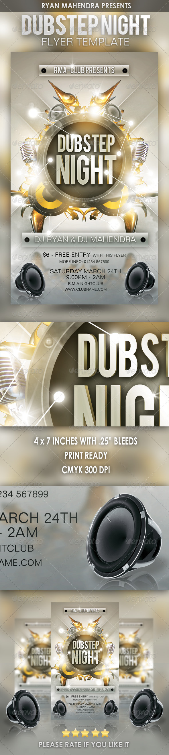 Dubstep Night Flyer Template - Clubs & Parties Events