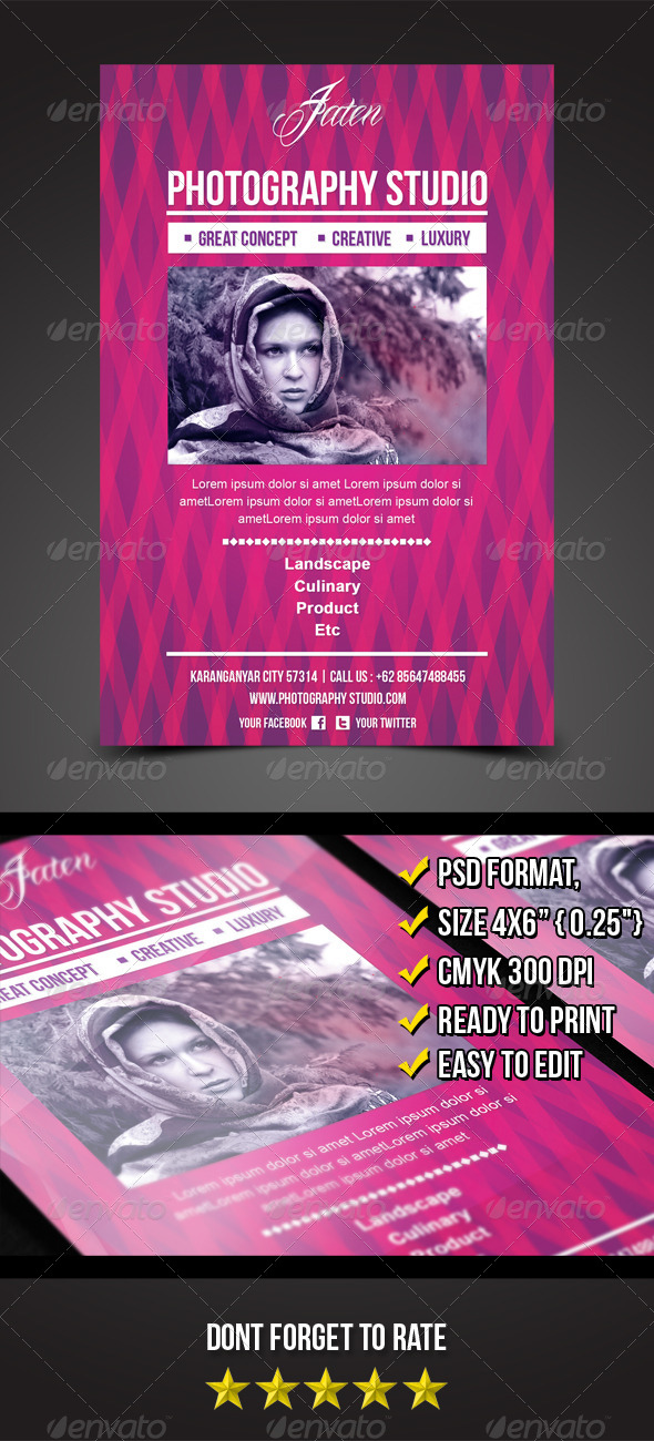 GraphicRiver Jaten Photography Studio Flyer Template 5464779