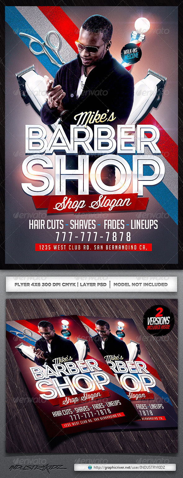 GraphicRiver Barbershop Flyer Template 5485432