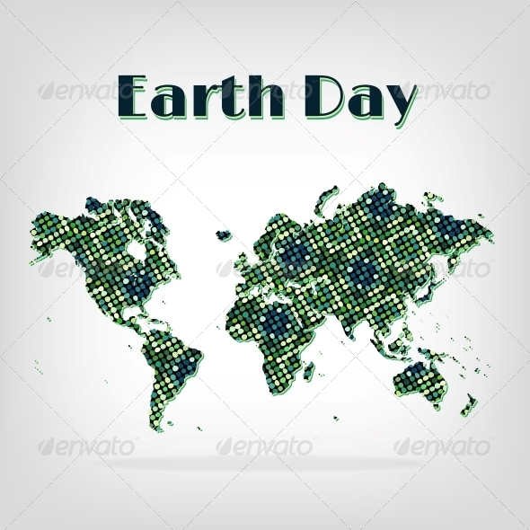 GraphicRiver Earth Day Card Decorative Map with Shadow 5486474