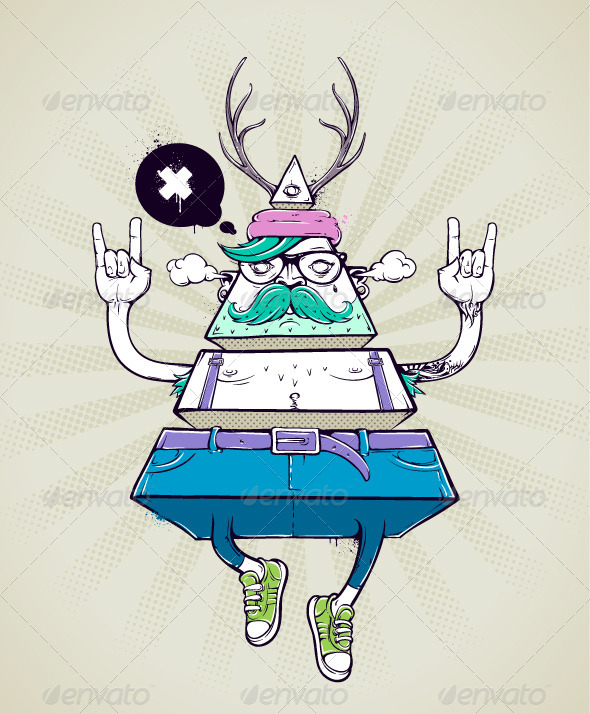 GraphicRiver Triangle hipster bizarre character 5487716