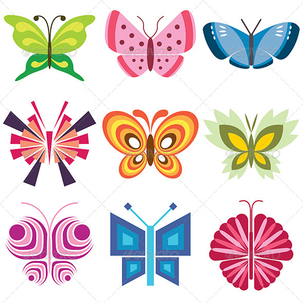 GraphicRiver Colorful Butterflies Icons Set 5487903