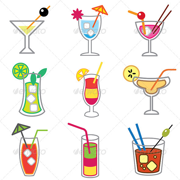 GraphicRiver Different Cocktails Icons Set 5487919