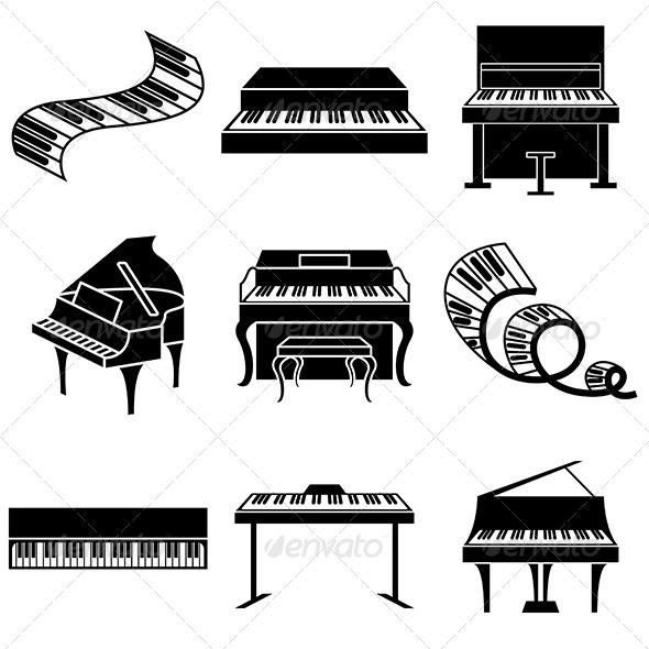 GraphicRiver Piano and Keys Icons Set 5487978