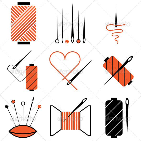 GraphicRiver Needle and Thread Icons Set 5487984