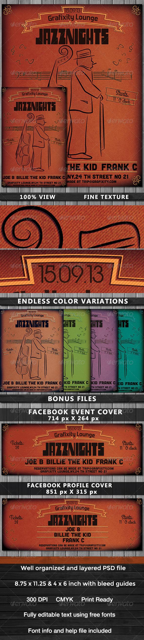 GraphicRiver JazzNights Vintage Retro Poster & Flyer 5488891
