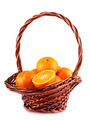 Ripe tangerine in brown basket - PhotoDune Item for Sale