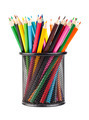 Various color pencils in black office cup - PhotoDune Item for Sale