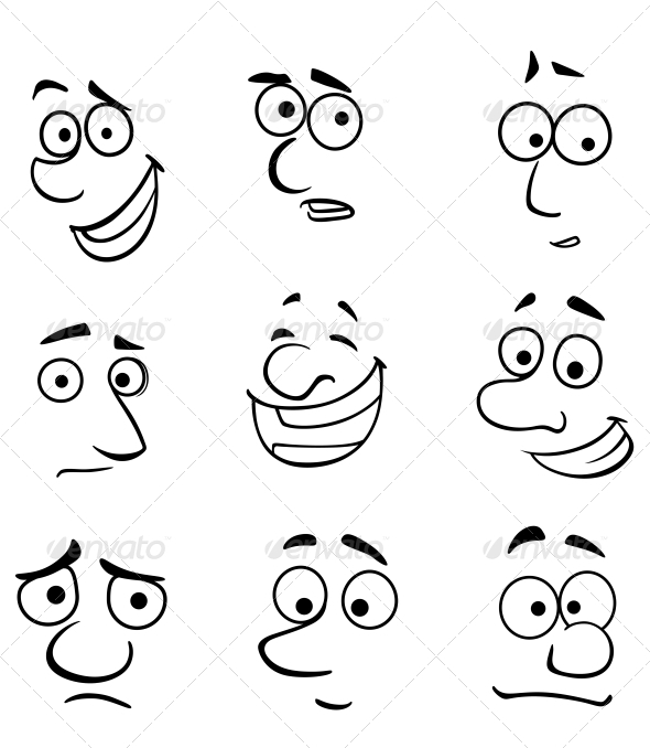 GraphicRiver Cartoon Faces with Emotions 5490271