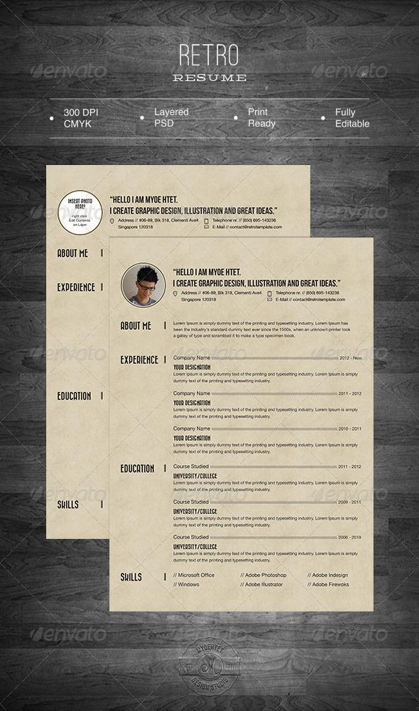 GraphicRiver Retro Resume 5479034