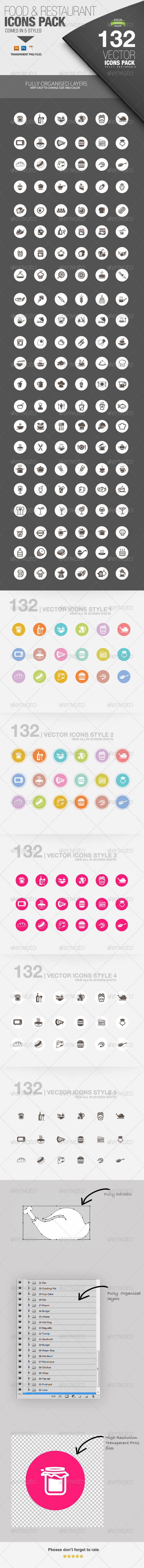 GraphicRiver Food Restaurant 132 Icons 5490398