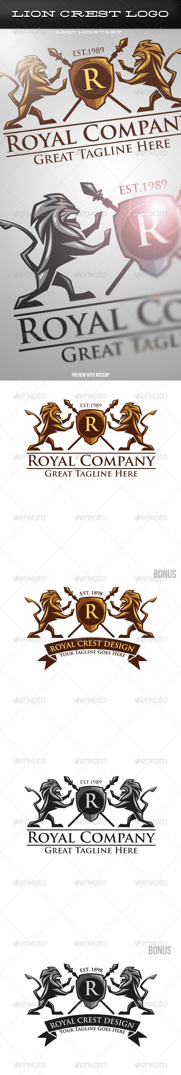 GraphicRiver Luxury Medieval Heraldic Lion Crest Logo 5492808