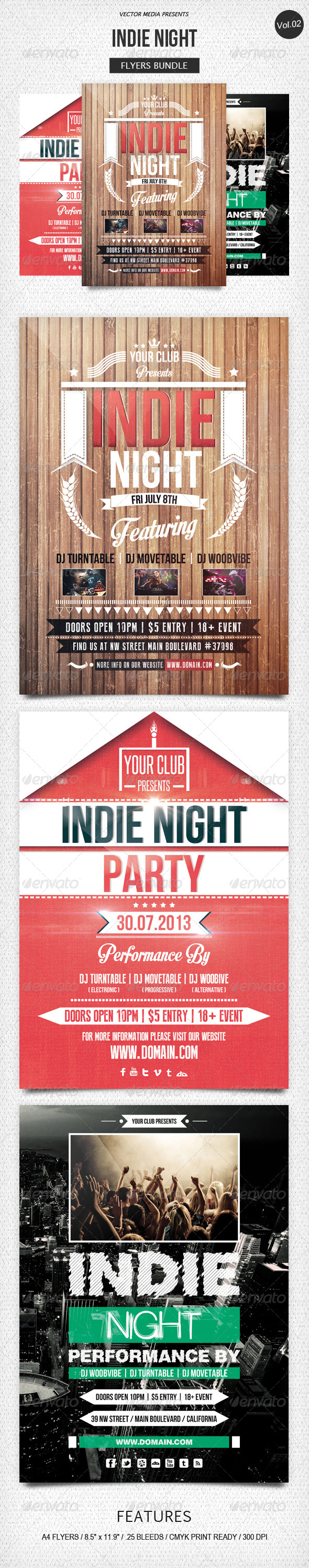 GraphicRiver Indie Night Flyers Bundle [Vol.2] 5493431