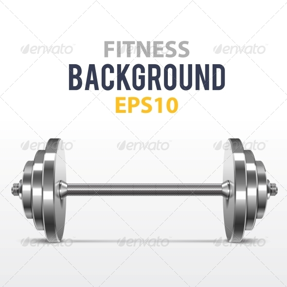 GraphicRiver Fitness Background with Metal Dumbbell 5494214