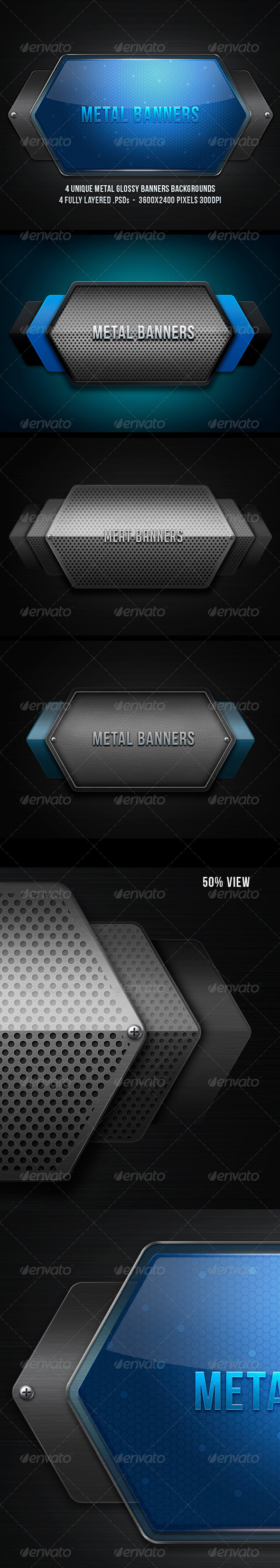 Metal Banners  - Backgrounds Graphics
