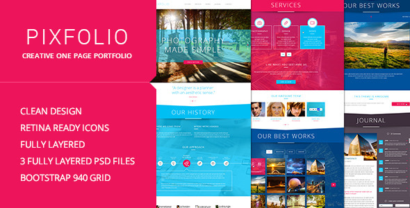 ThemeForest Pixfolio Creative One Page Portfolio 5494331