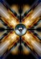 Music speaker on a gold cross background - PhotoDune Item for Sale
