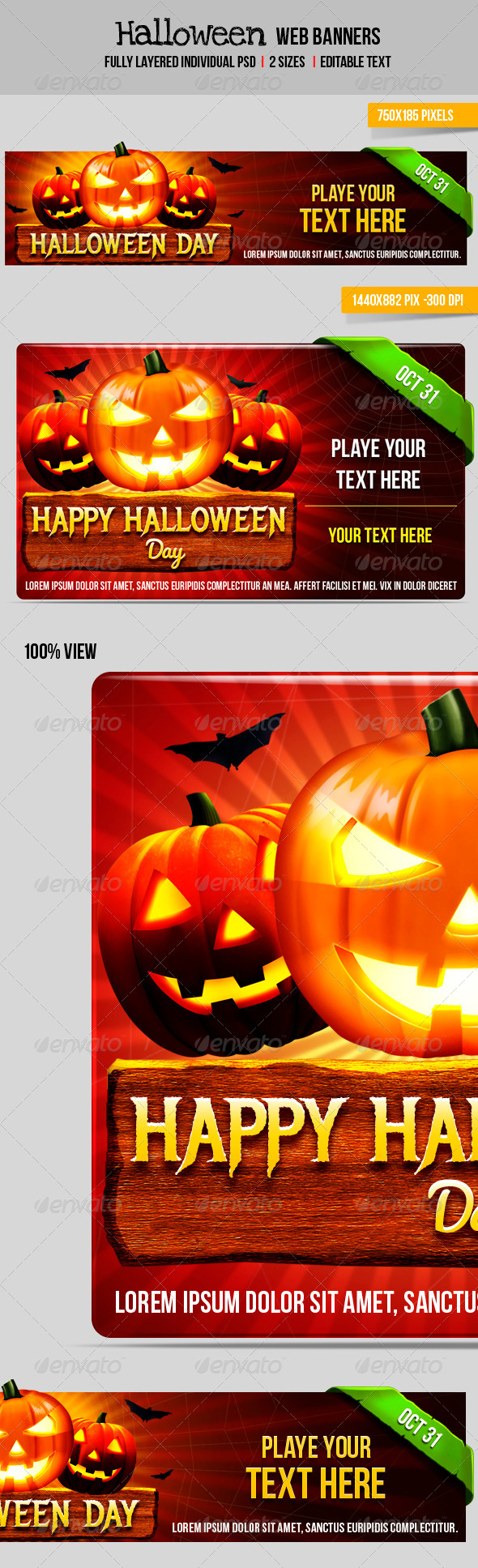 Halloween Web Banner - Banners & Ads Web Elements
