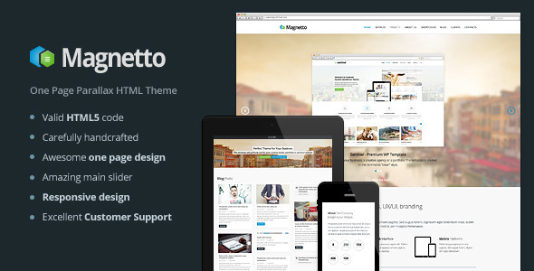 ThemeForest Magnetto Onepage Parallax Theme 5496606