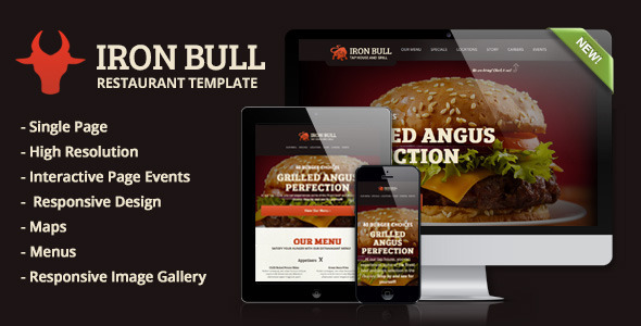 Iron Bull Responsive Restaurant Template - Restaurants & Cafes Entertainment