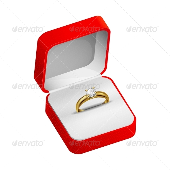 GraphicRiver Gold Ring in a Red Box 5498784