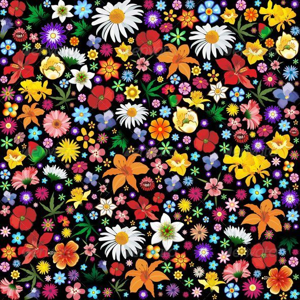 GraphicRiver Colorful Spring and Summer Flowers Pattern 5498889