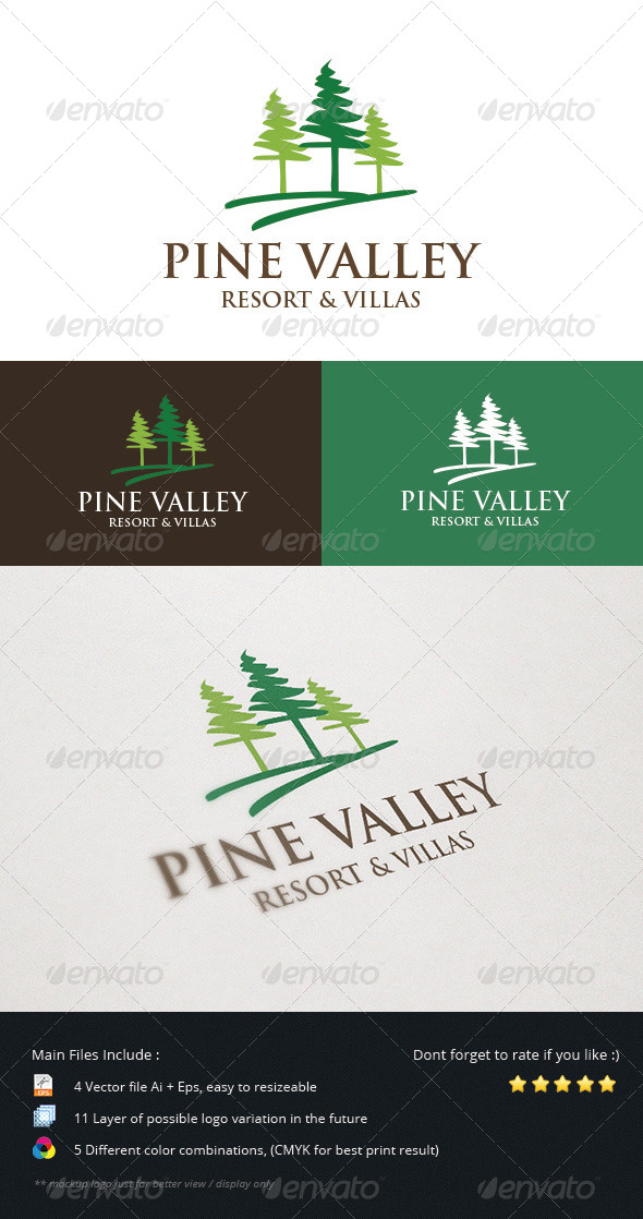 GraphicRiver Pine Valley Resort & Villas Logo 5499749