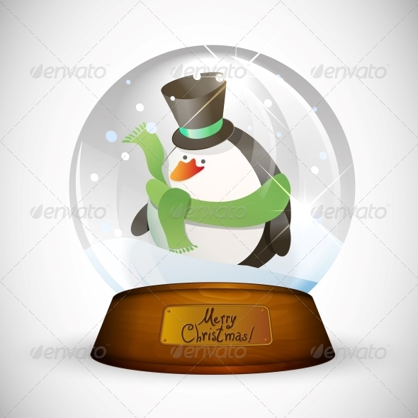 GraphicRiver Christmas Snow Globe with Penguin 5499780